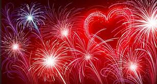 fireworks with heart